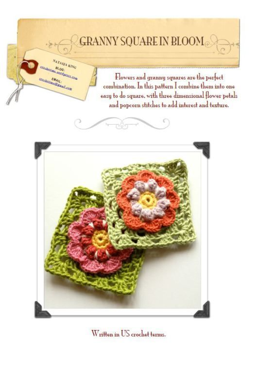 Granny Square In Bloom pattern | Crochet de variedad !!! | Pinterest ...