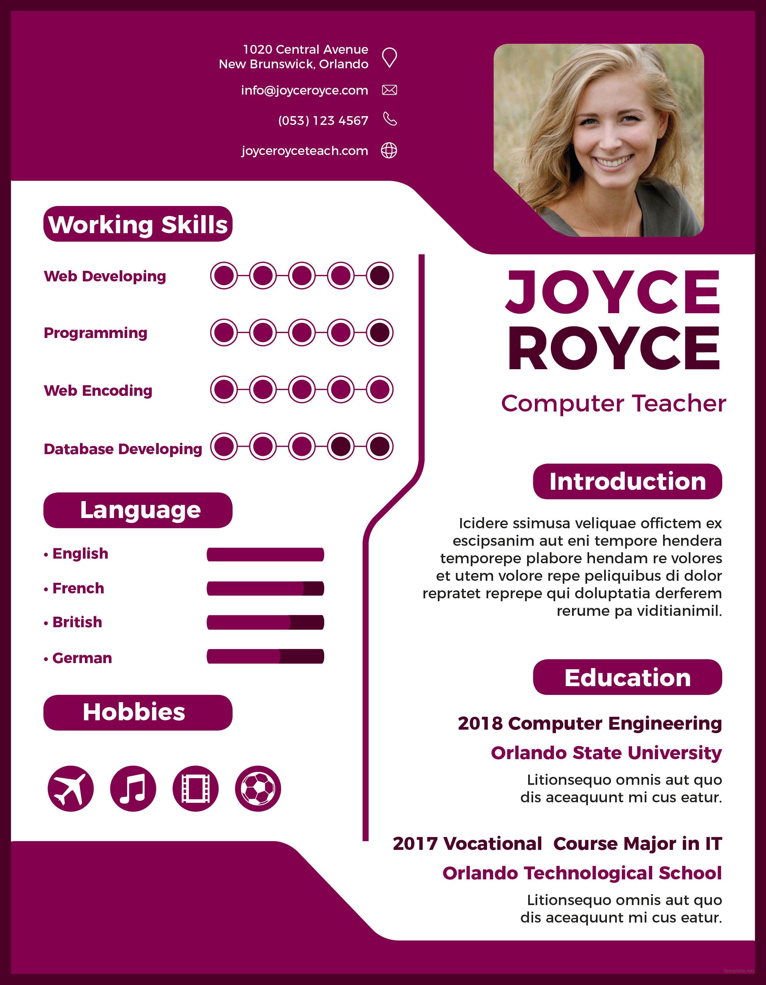 Free computer teacher resume template computer teacher