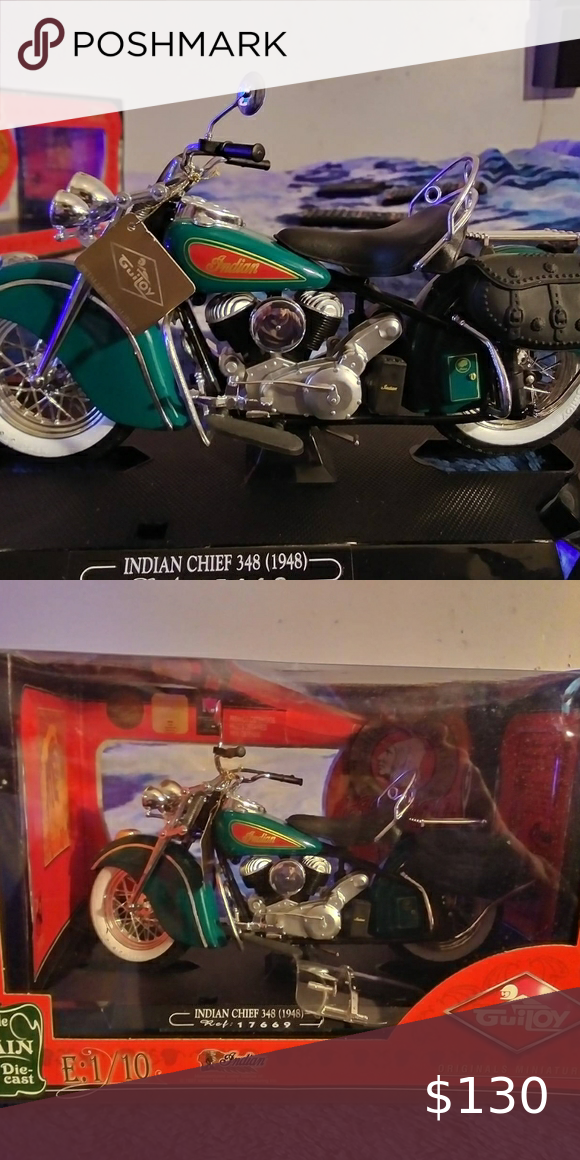 Guiroy 1 10 Scale Indian Motorcycle 1 10 Scale Indian Chief Green And Red Diecast Motorcycle New In Box With Tags Indian Motorcycle Beautiful Bike Indian Chief