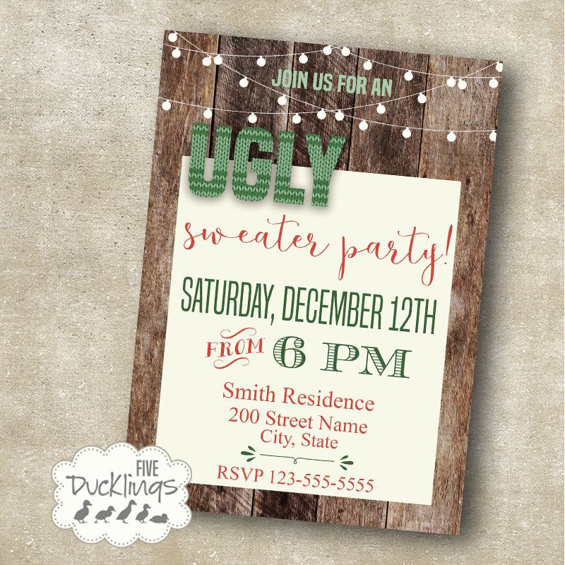 Ugly Sweater Party Invitation Holiday party invite Rustic wood