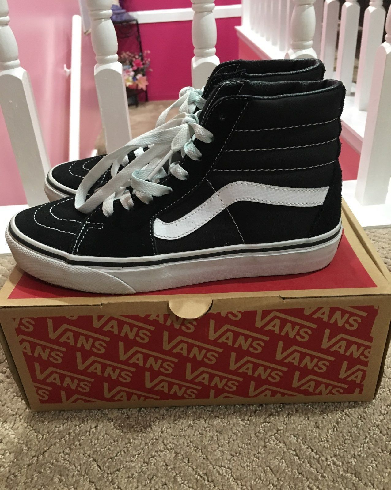 Black and white high top vans. Women a