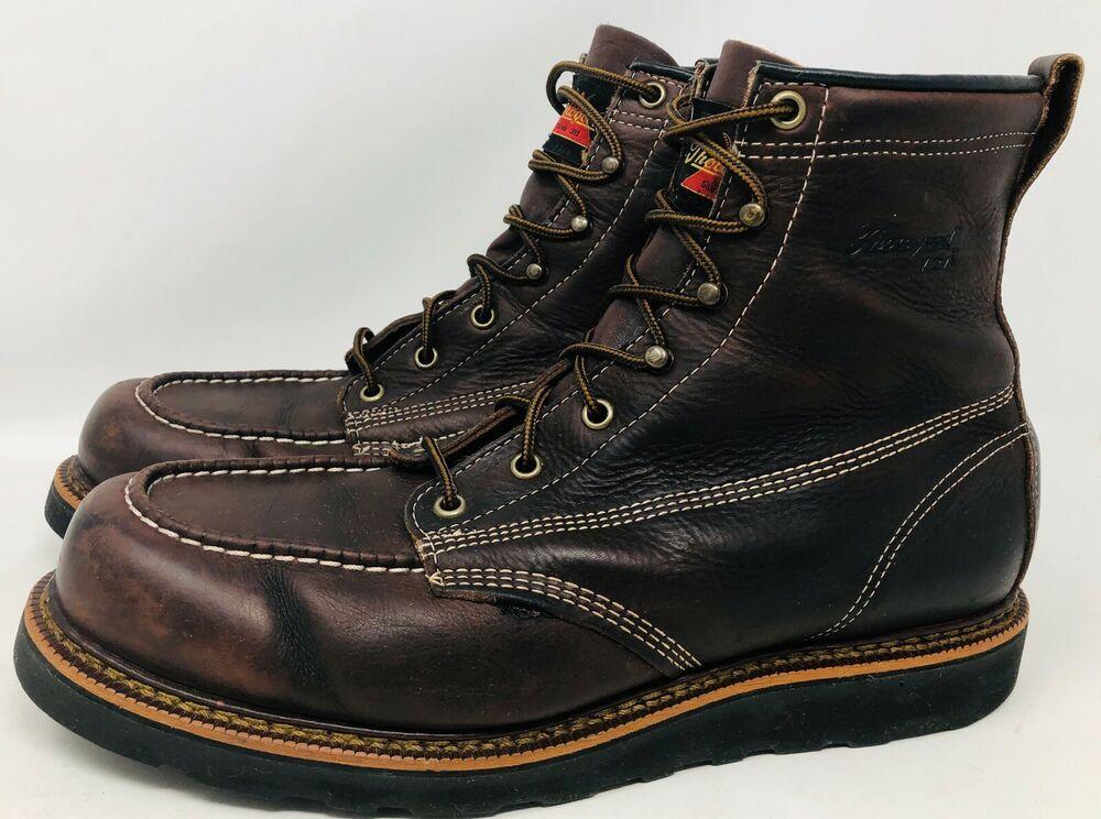 Thorogood 814 4266 Boots 6 Moc Toe Men Black Walnut 11 Ee Usa Work Wedge 814 Thorogood Work Brown Work Boots Boots Black Walnuts