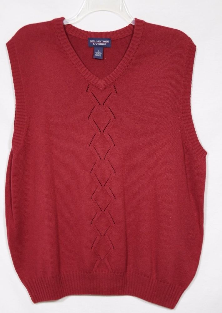 ROUNDTREE & YORKE Mens Brick Red Sweater Vest XL V-Neck Wool ...