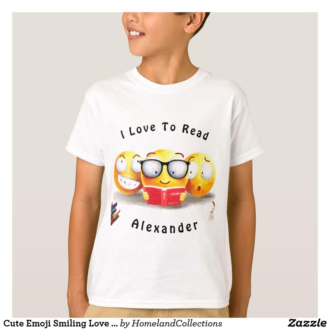Cute Emoji Smiling Love Reading Book T Shirt Zazzle Com