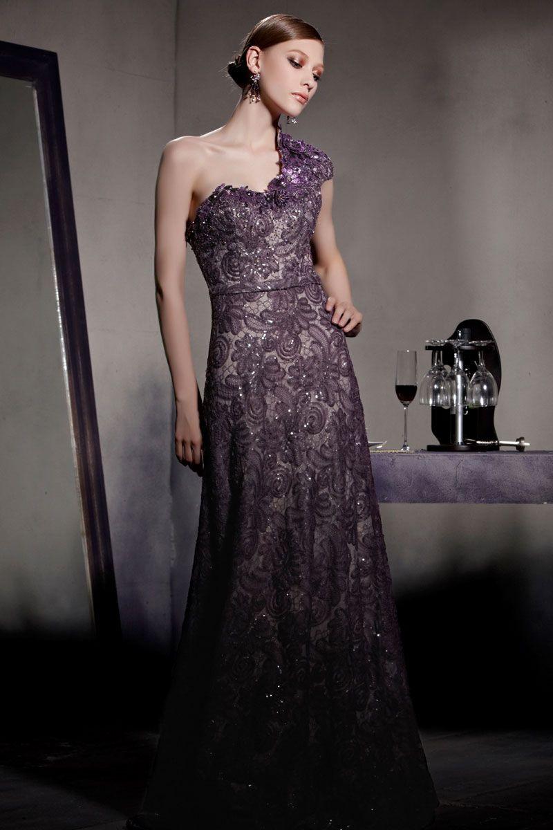 Luxus Ein Schulter Lila A Linie Langes Perle Abendkleider aus Spitze ...