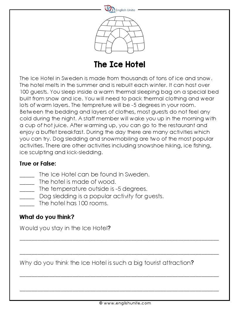 - Short Story - The Ice Hotel Short Reading Passage, First Grade