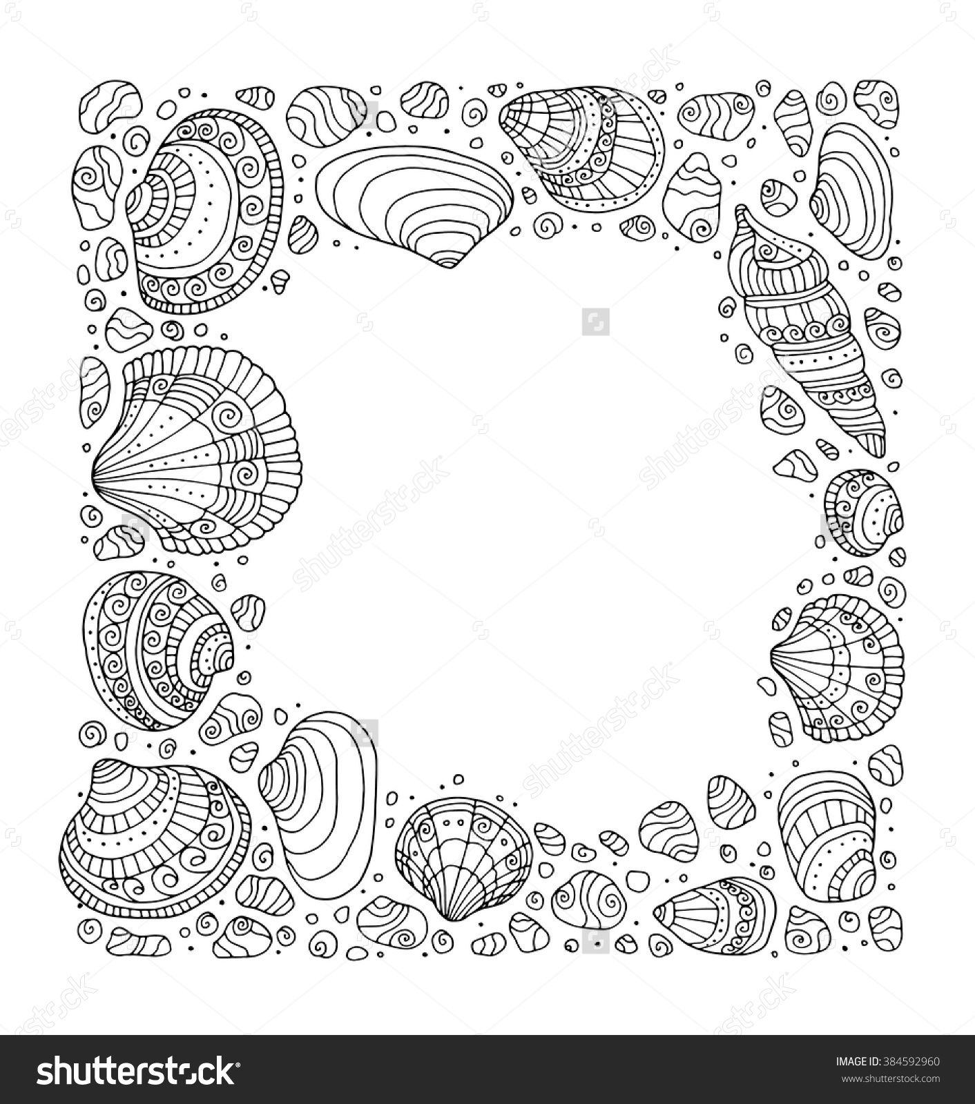 seashell border frame ocean pattern vector vintage illustration