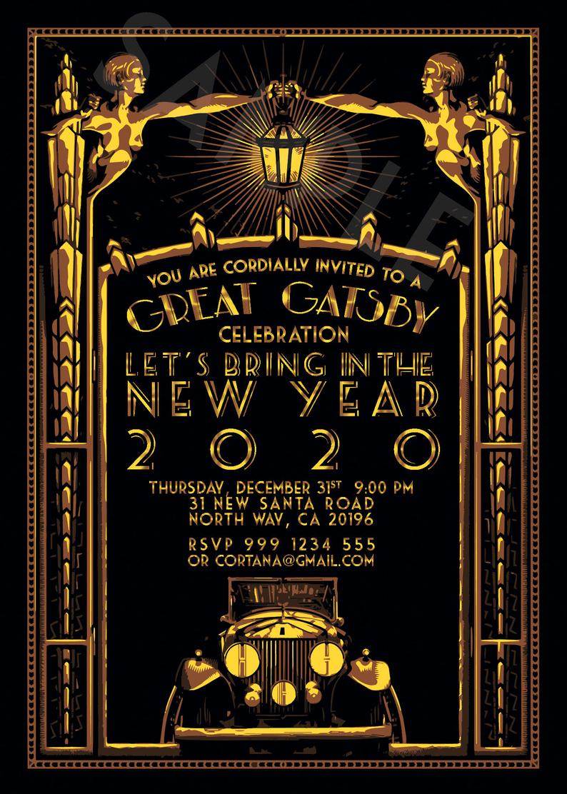 Old Hollywood New Years Eve Invitation , Great Gatsby