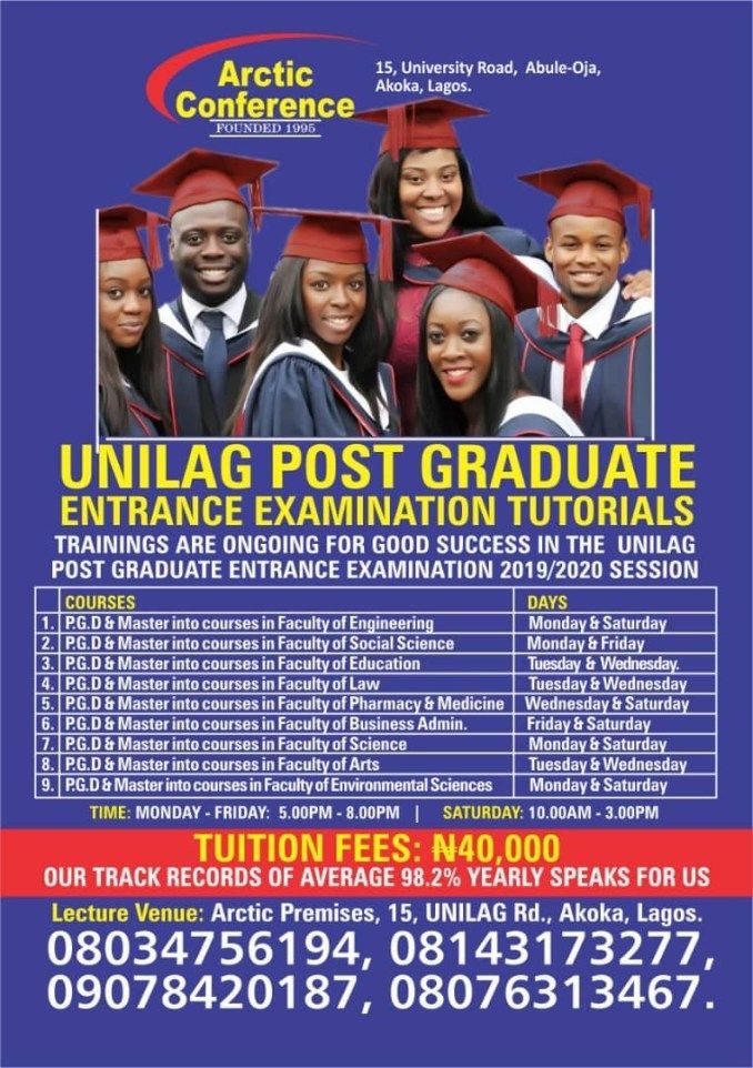 Recommended Tutorial Center For 2019/2020 Unilag ...