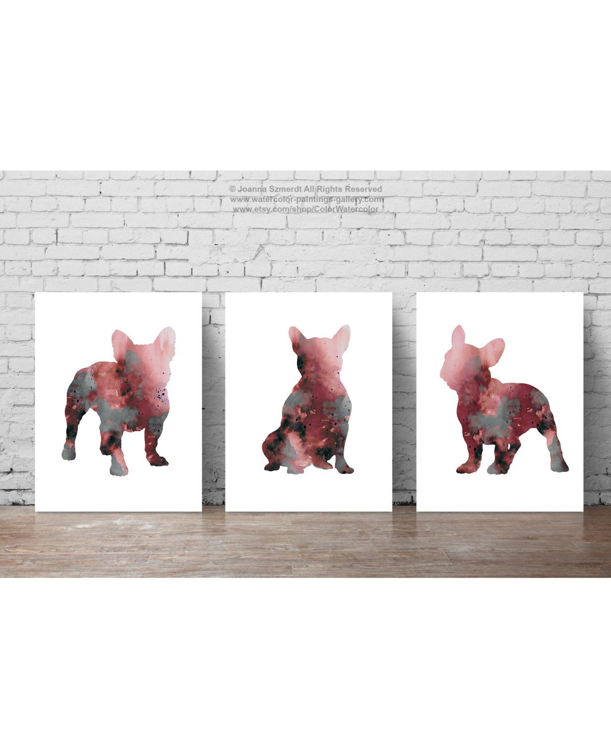 Pink Frenchie Set of 3, Abstract Dog Art Print, Kids Wall Decor ...