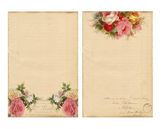 Digital Lined Paper Editable Paper Vintage Roses Sepia Effect - editable lined paper