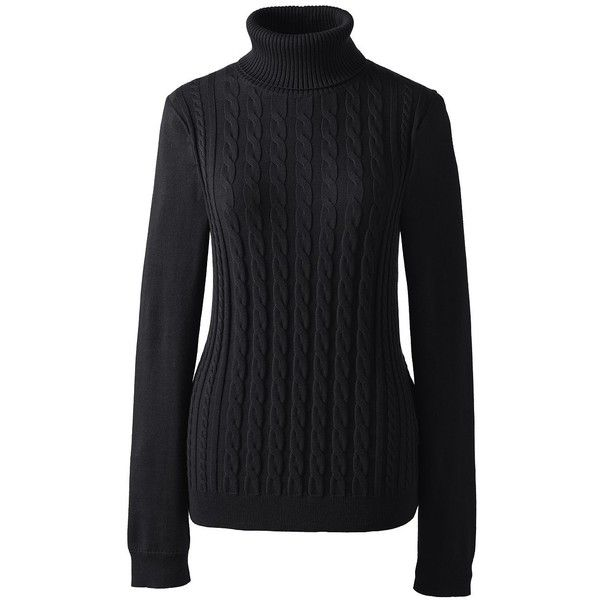Lands  End Women s Petite Cotton Cable Turtleneck Sweater ( 23) ❤ liked on  Polyvore featuring tops 28b98eeb3