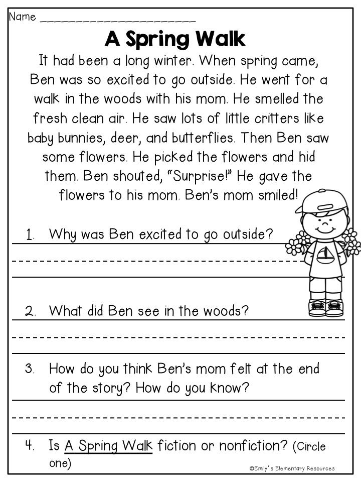 Spring No Prep Reading/writing Printables! $ Reading Worksheets, Reading  Comprehension Worksheets, Comprehension Worksheets