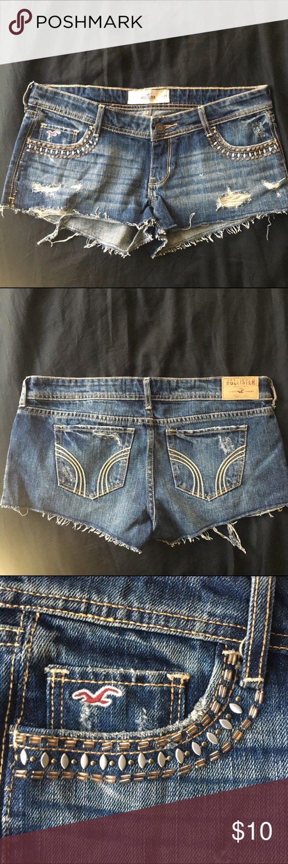 Hollister Festival Shorts Size 9 Cutoffs with accented pockets. Never worn. Hollister Shorts Jean Shorts