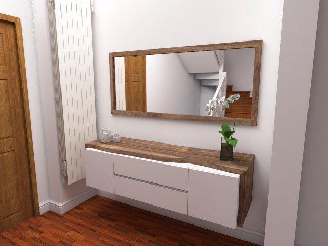 Mueble de entrada en nogal espa ol y laca blanca for Muebles espanoles modernos