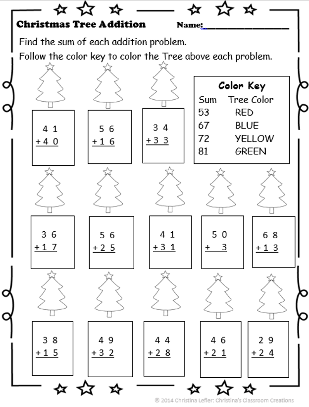 Christmas Tree Addition with Regrouping Color by Number