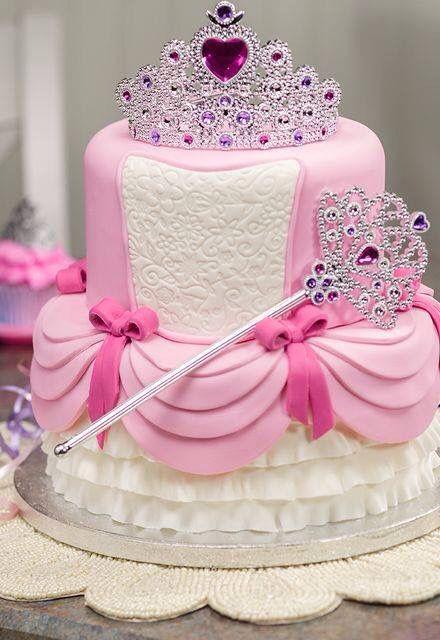 G teau princesse rose et blanc avec couronne g teau - Couronne princesse disney ...