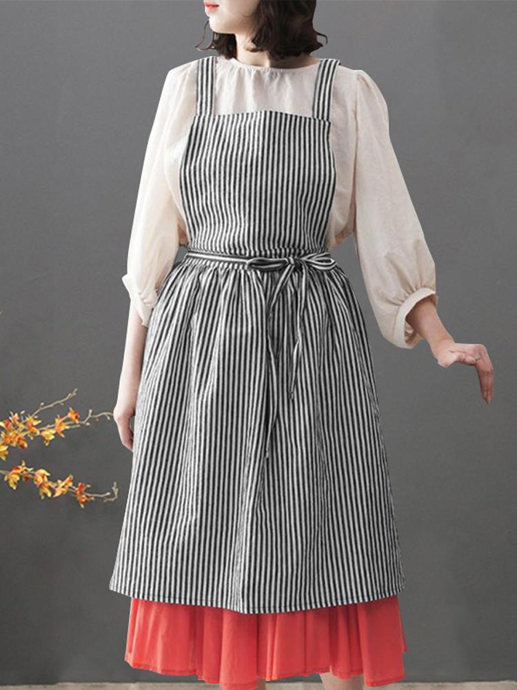 e6110e44359e4 Women Japanese Style Stripe Back Cross Loose Pinafore Vintage Apron Dress