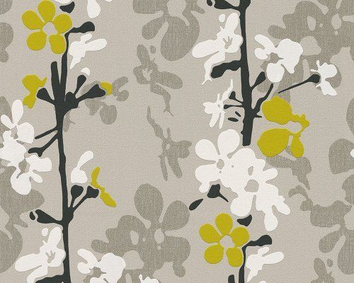 A.S. Creation 940821 Non-Woven Wallpaper in Scandinavian Blossom Design with Spiralling Blossoms Curry Yellow / Black / White / Pebble Grey / Beige Grey, http://www.amazon.co.uk/dp/B00DURNUMK/ref=cm_sw_r_pi_awdl_v8Lqtb1FE3NZ9