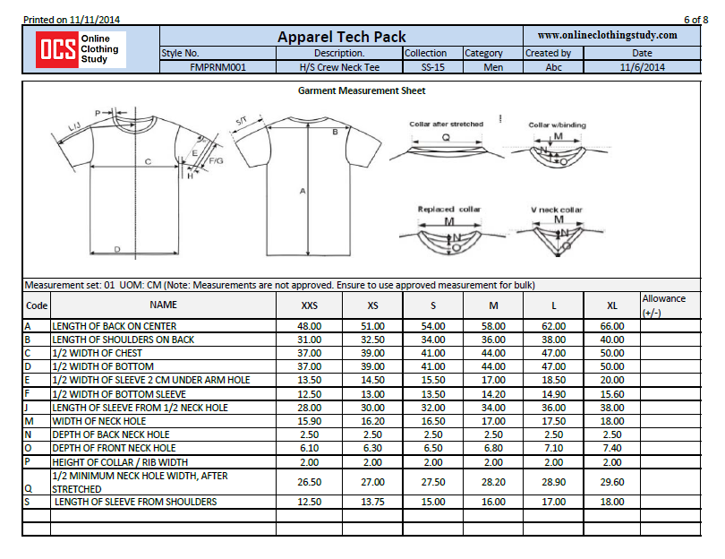 What is a Specification Sheet in Fashion? Cost sheet