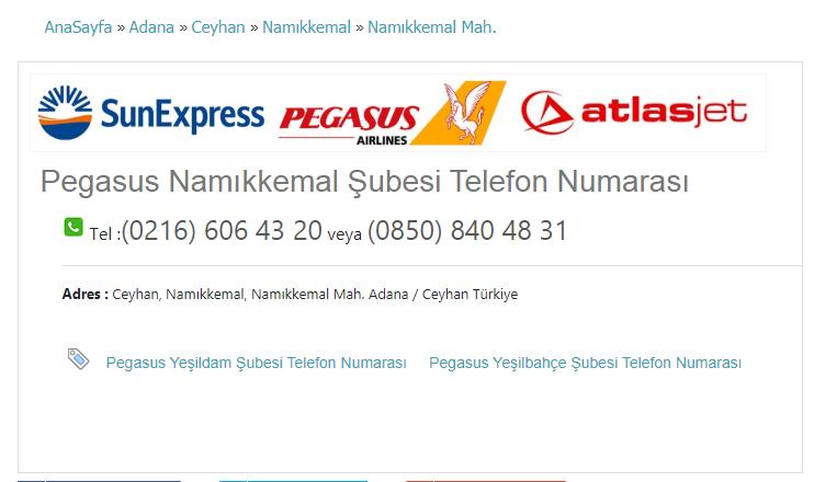 Pegasus Namıkkemal Şubesi Telefon Numarası Tel :(0216) 606 43 20 veya (0850) 840 48 31