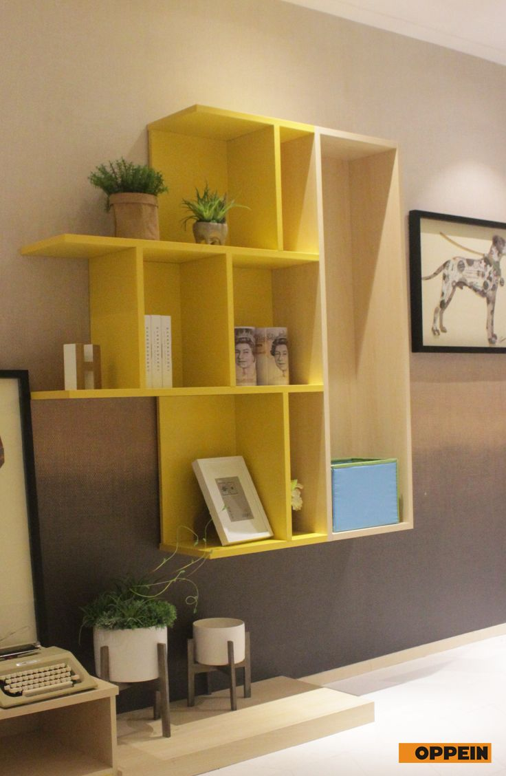 Modern Bright Yellow And Wood Grain Display Cabinet  Display Classy Modern Dining Room Display Cabinets Design Decoration