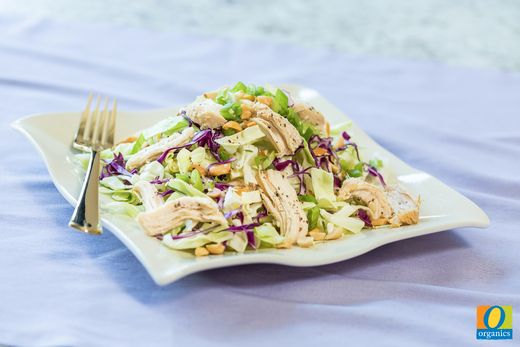 Throw together this Asian Chicken and Cabbage Salad in just five minutes for a healthy lunch-time meal! The best part? This recipe features 29 grams of protein!