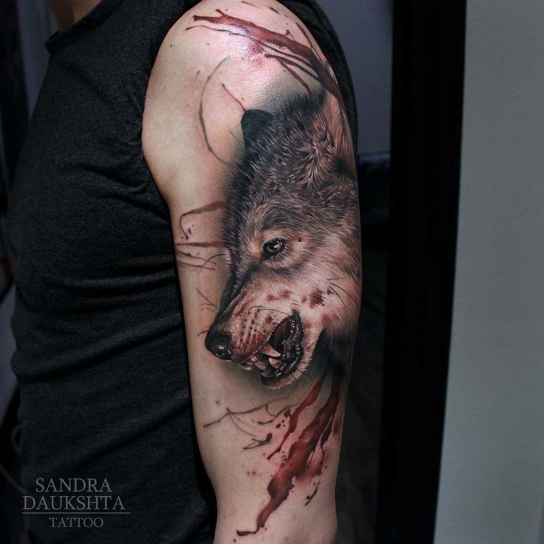 Tattoo motiv wolf tattoovorlage wolfskopf - Upper Arm Tattoos Bloody Wolf