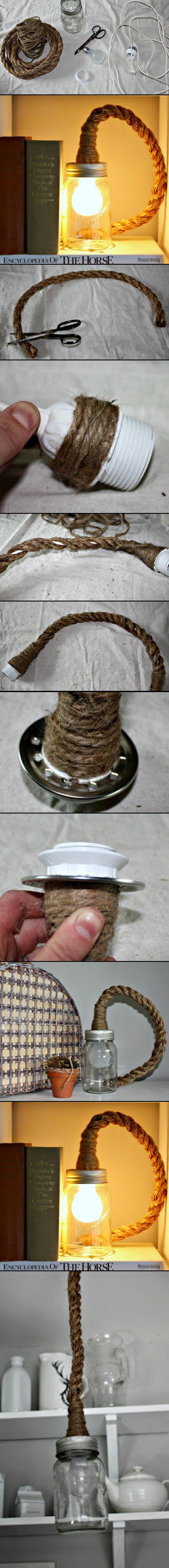 DIY Mason Jar Rope Light | #DIY