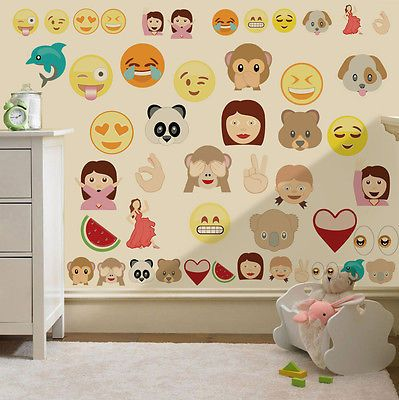 Childrens Emoji Emoticons Wall Stickers Decals Nursery Boys Girls Kids Bedroom Room Stickers Room Wall Decor Kids Bedroom