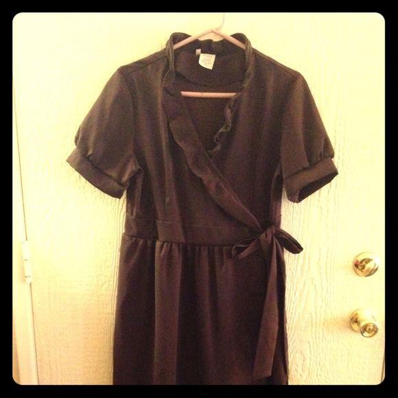 Shabby Apple wrap dress Amazing dark brown with bronze wrap dress shabby apple Dresses