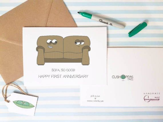 Funny First Anniversary Card Quirky 1st Anniversary By Cushobi Cards Anniversary Cards 1st Anniversary