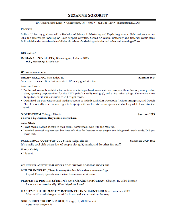The Ultimate Resume Template For Any YearOld Ifiwere  Andy