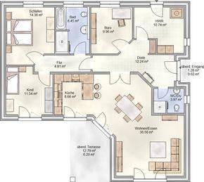 Bildergebnis für grundrisse bungalow 140 qm | Plantas de casas ...