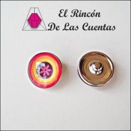Botón Click de resina multicolor con flor de 18mm