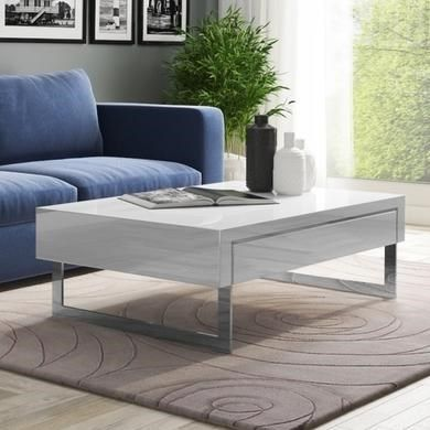 Evoque White High Gloss Coffee Table with Storage Drawers