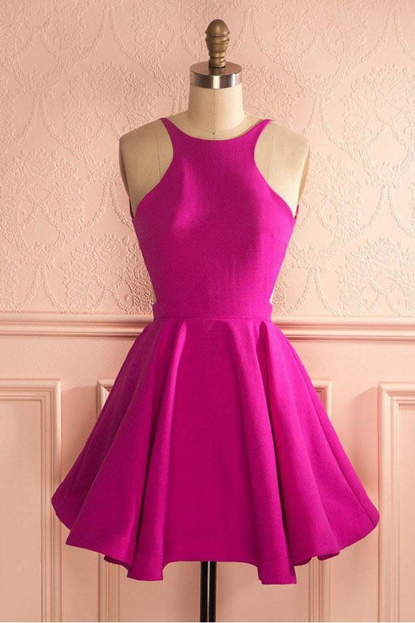 Cute Pink Prom Dresses Cute Hot Pink Backless Short Homecoming Dress ...