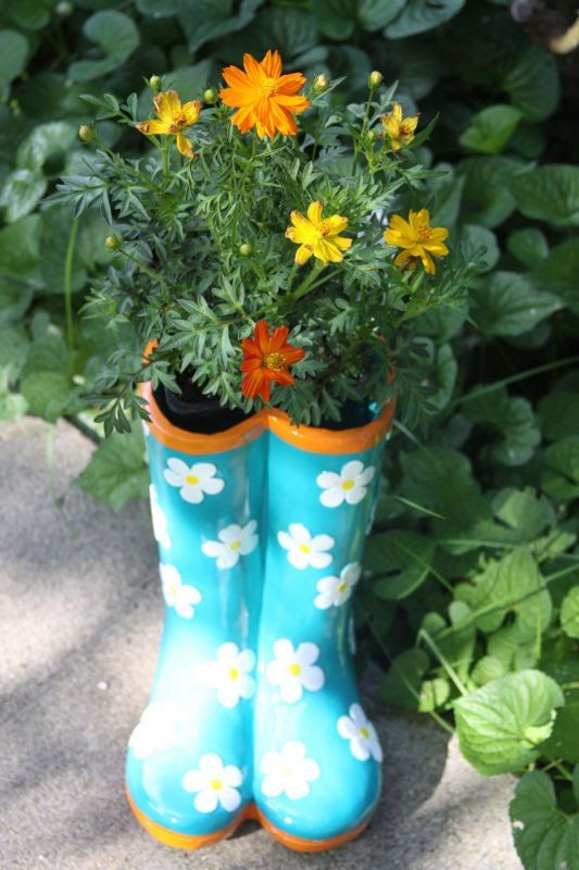 Ceramic Boot Planter Flower Boots Fall Flower Pots Flower Pots