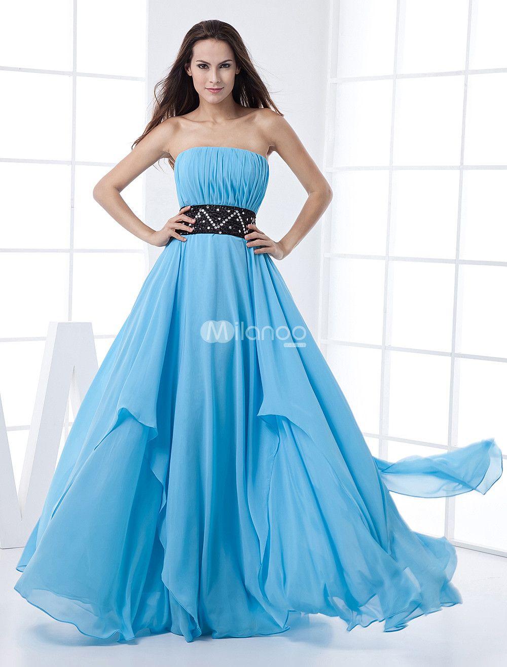 Chiffon Prom Dress Aqua Strapless Empire Waist Floor ...