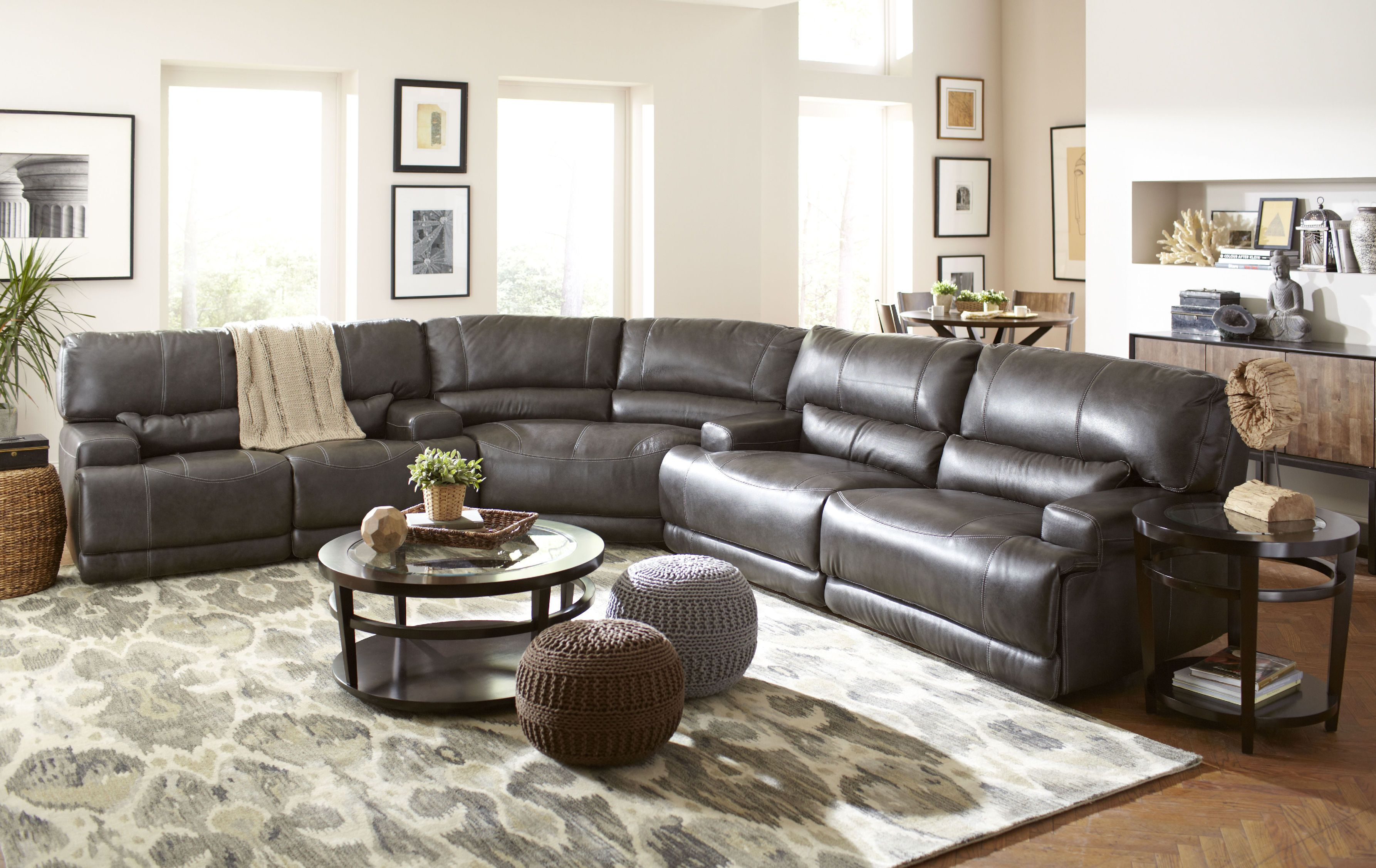 Terrific Stampede 3 Piece Leather Power Sectional Charcoal Gp M089 Evergreenethics Interior Chair Design Evergreenethicsorg