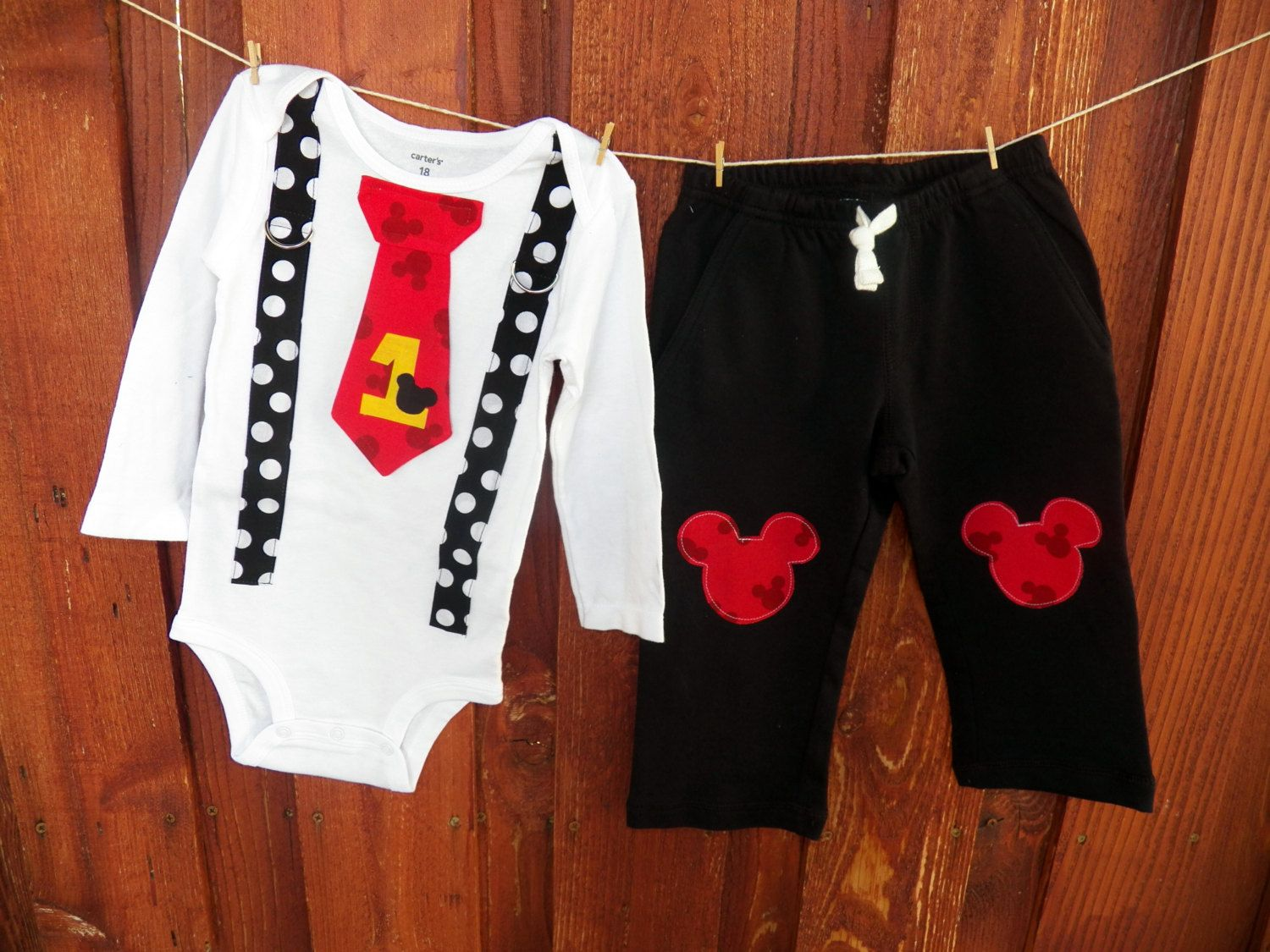 Mickey Mouse Birthday Tie and Suspender Bodysuit by