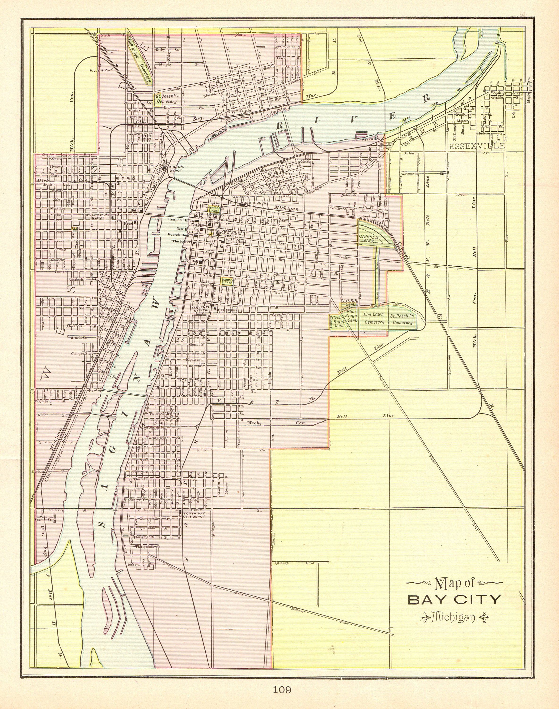 1898 Antique Bay City Michigan Map Vintage Map Of Bay City Print Gallery Wall Art Wedding Gift For Traveler Anniversary Birthday 9731 Bay City Map Bay City Michigan