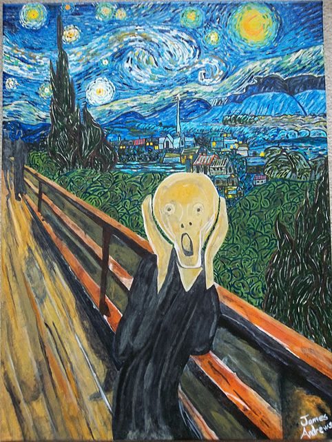 The Scream On A Starry Night Van Gogh Art