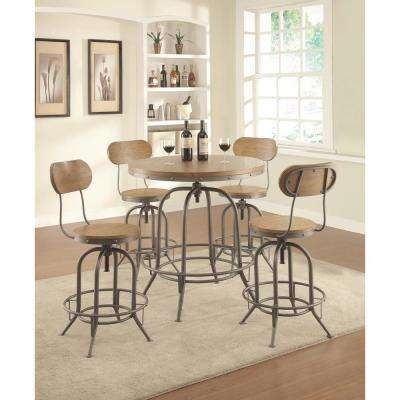 Weathered Brown Rustic Industrial Adjustable Bar Stool Rec Room