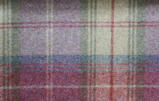 Elgin Pink Mauve Wool Effect Thick Tartan Upholstery Curtain Designer Fabric