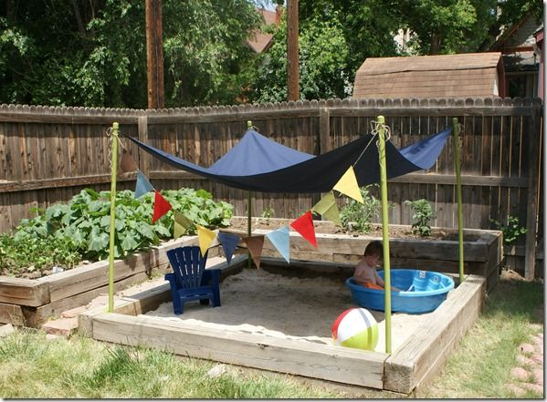 Big sandbox with mini pool and lounge chair backyard for Garden mini pool
