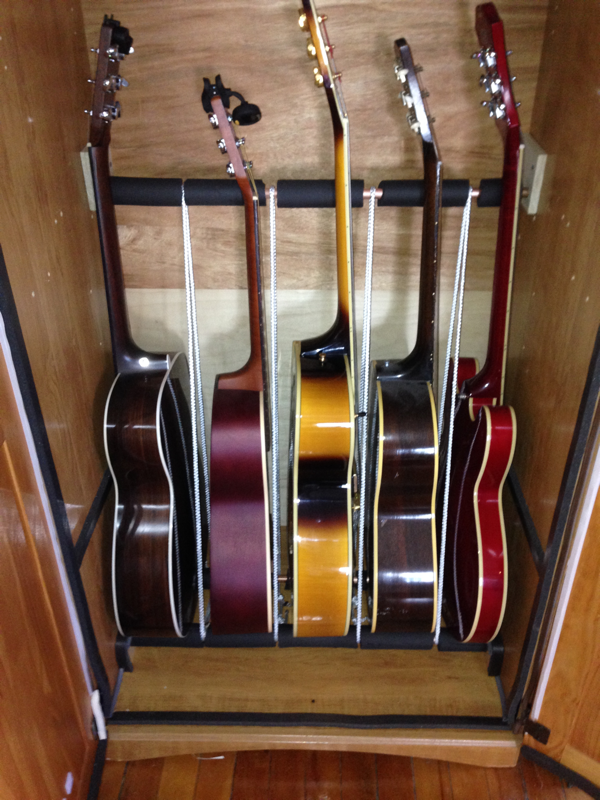 Diy Humidified Guitar Cabinet From An Armoire Guitars Sit On Inch Copper Pipe Covered By Rubber Water Insulation Nylon Rope Keep Them Upright