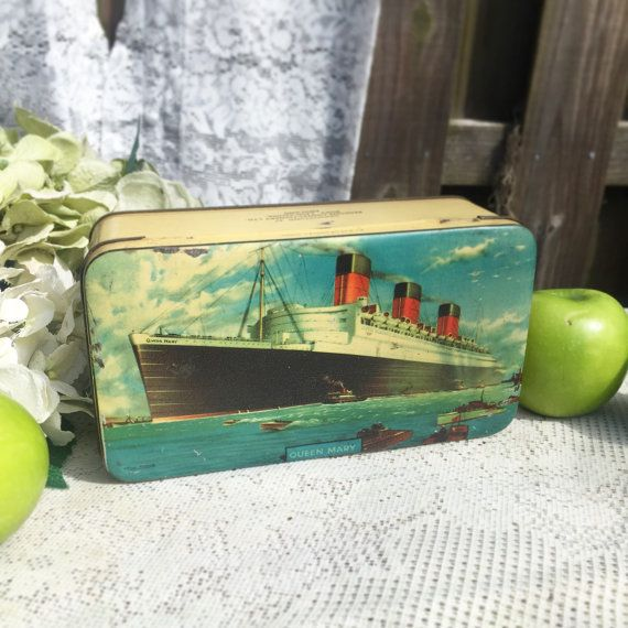 Antique Decorative The Rms Queen Mary Ship Cunard Nautical Tin Litho Box Benson S English Candy Storage Container