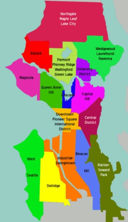 Map of Seattle neighborhoods PNW Pinterest Seattle