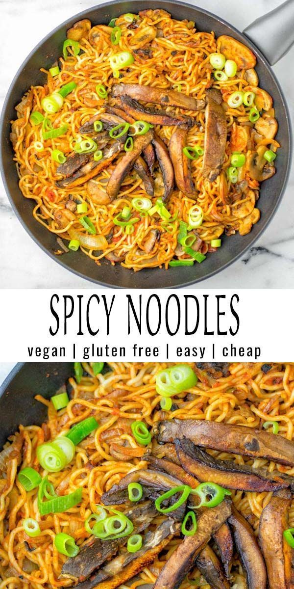 These Spicy Nooldes are texture perfect, naturally vegan and so delicious. Made with 2 sorts of mushrooms, it is a one pot meal that will surely impress everyone, beats takeout in no time, cheap, fresh. Try them and know what I'm talking about. #vegan #dairyfree #glutenfree #vegetarian #onepotmeals #spicynoodles #contentednesscooking #budgetmeals #mealprep #comfortfood #20minutemeals #dinner #lunch #betterthantakeout